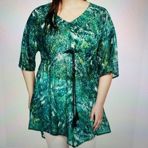 Ellos Green & Blue Sheer Tunic Size 1X